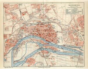 1895 GERMANY MAGDEBURG CITY PLAN Antique Map
