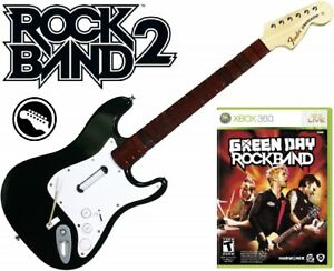 NEW Xbox 360 Rock Band 2 Wireless Fender Stratocaster Guitar & Green Day RB Game