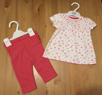 Ex M*S Baby Girls Pink Pure Cotton Floral T shirt Top Leggings Set Outfit