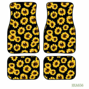 4PCS Full Floor Mats Universal Printed Sunflower Mat Fit for Car Interior