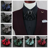 Retro Mens Women Wedding Clip On Neck Bow Tie Ribbon Rhinestone Necktie Brooch