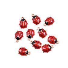 10x Cute Ladybird Enamel Charm Pendant 11*9 MM For DIY Earrings/Bracelet HA