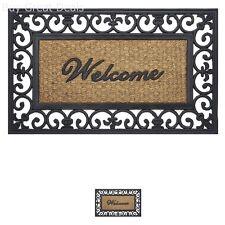 Welcome Mat Entrance Front Door Non Slip Wrought Iron Outdoor Indoor Rubber Rug