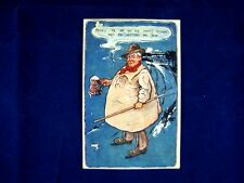 VINTAGE POSTCARD 1927 FUNNY CARTOON DRAWING OF FARMER HOLDING A DRINK
