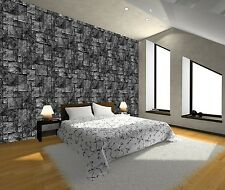 B&W 3D EFFECT STONE WALL ROCK BRICK DECOR ART Photo Wallpaper Wall Mural 335x236