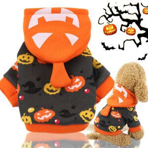 Halloween Cosplay Apparel Warm Coat Pumpkin Costumes Pet Dog Puppy Hoodies S - L