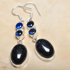 """Handmade Sun Sitara Sparkling Jasper 925 Sterling Silver 2.5"""" Earrings #E00156"""