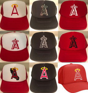 Angels Baseball Los Angeles Anaheim California Polyester Foam Mesh Trucker Hats