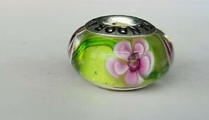 Pandora green sparkle with intricate pink flowers Murano Bead charm - Ale S925