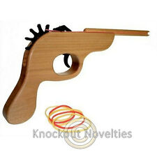 Rubber Band Shooter Shoot Rubberbands Gun Wooden Office School Ammo Fun Desk