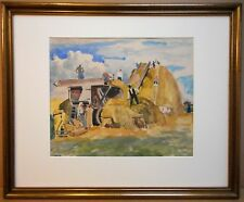 Threshing at Pély, Hungary. Original Watercolour listed artist Josef Bato 1926