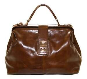 Smith and Canova Womens Tan Brown Leather Handbag Bag Mini Briefcase