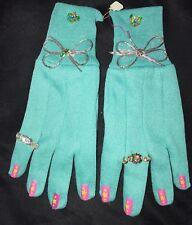 women's New Nwot Aqua Gloves fingernails Rings Attached Bows gardening So Cute @