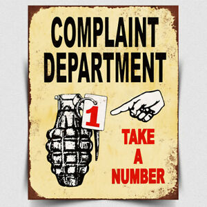 METAL SIGN WALL PLAQUE COMPLAINT DEPARTMENT Ticket queuing Funny Office Humour