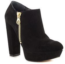 Women's Shoes Guess PAPRIKAA Platform Booties Chunky Heels Zip Suede BLACK