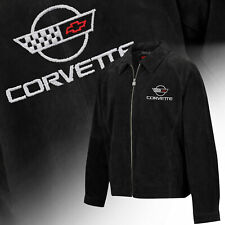 Mens C4 Corvette Logo Regular Length Suede Bomber Jacket BLACK 604822