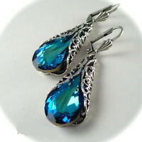 Vintage Gem Feather Drop Dangle Silver Blue Sapphire Engagement Wedding Earrings