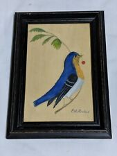 Vintage Miniature Folk Art Watercolour Painting Bluebi E S Dubiel Glastonbury CT