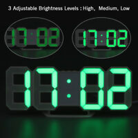 USB Large 3D Modern Digital LED Table Night Wall Clock 24/12 Hour Timer Alarm
