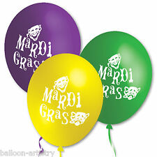 10 Mardi Gras MASKS Green Purple Yellow Party Assorted Printed Latex Balloons