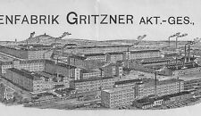 Maschinenfabrik Gritzner AG Durlach Rechnung 1908 Karlsruhe Nähmaschine Fahrrad