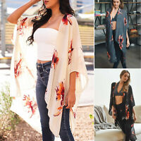 Floral Print Kimono Lightweight Long Wrap Shawl Open Front Loose Boho Jacket