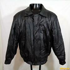 PHASE 2 Soft LEATHER JACKET Coat Mens Size XL black zippered insulated