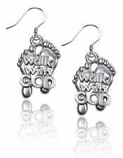 Walk with God Feet Charm Earrings in Silver