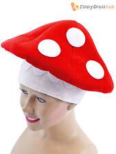 Adult Toad Stool Hat Mushroom Mario Mens Ladies Fancy Dress Accessory Fairy Tale