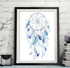 A4 DREAMCATCHER Nursery Print Boho Wall Decor Blue Tribal Feather Art UNFRAMED
