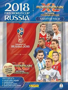 2018 PANINI ADRENALYN FIFA WORLD CUP STARTER PACK ALBUM + (18 CARDS+ LE GOLD)