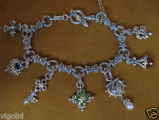CHARM BRACELET BARBARA BIXBY CROSS FLOWER LOCK KEY PEACOCK DIAMOND PERIDOT Gift