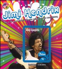 Palau 2016 Jimi Hendrix/Rock Music/Guitar/People/Musician 1v m/s (n17525a)