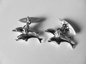 sterling silver DOLPHIN chain cufflinks uk made