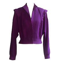 Adolph Schuman for Lilli Ann Vtg 1970s Purple Crepe Short Blouson Jacket S/M