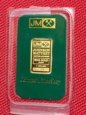 Vintage 5 Gram Johnson Matthey Fine Gold Bar in (Opened) Certified Assay Card