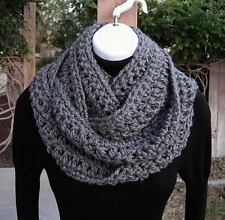 INFINITY SCARF Solid Gray Grey Cowl, Extra Long Skinny Narrow Soft Crochet Knit