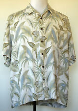 Ocean Pacific Washable Silk Tropical Leaf Print Beige Button-Front S/S Shirt XL