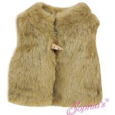 "Tan Shaggy Fur Vest fit 18"" American Girl Doll outerwear winter coat jacket beig"