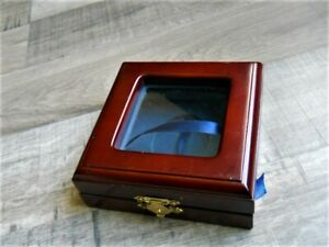 WEDDING Ceremony RING BEARER BOX - Dark Brown Wood - Rustic - Blue Felt Ribbon