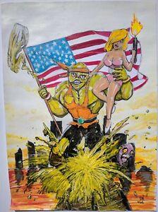 Santiago Salvador Original Art Painting Troma Toxic Avenger II Crusader 11.5x17