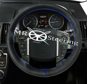 FOR LAND ROVER DISCOVERY 99-09 LEATHER STEERING WHEEL COVER ROYAL BLUE 2 STITCH