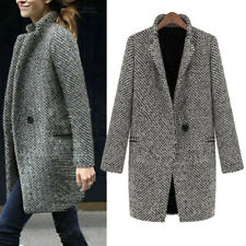 Women Slim Winter Warm Wool Lapel Long Coat Trench Parka Jacket Overcoat Outwear Black XL