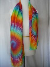 Tie dye rainbow silk scarf or sash