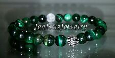 Sterling Silver Dragon Mens Emerald Tiger Eye Yoga Gemstone Stretch Bracelet