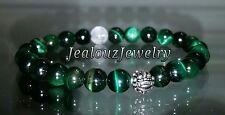 Sterling Silver Dragon Mens Emerald Tiger Eye Yoga Gemstone Stretch Bracelet