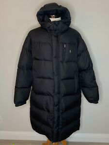 Polo Ralph Lauren Mens Hooded Down Long Black Puffer Jacket Winter Parka Coat L
