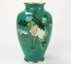 "Antique Japanese Wired Cloisonne Enamel Flower & Bird Vase 6"""