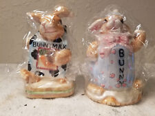 New In Box Ceramic Bunnies Salt Pepper Shakers Made In China