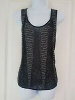 Womens Luxe Blush Blouse size 8 black sequin party occasion vgc
